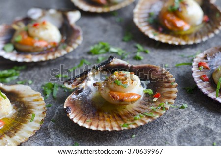 Scallops with chilli and garlic butter - stock photo