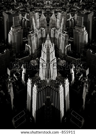 Scan of medium format's original black&white negative shot in New York from observation deck of WTC in May 1999. Symmetries in Photoshop - stock photo