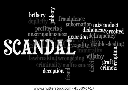Scandal info text word cloud concept on black background - stock photo