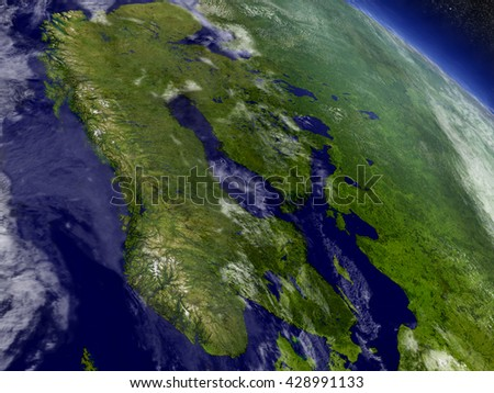 Scandinavia with surrounding region as seen from Earth's orbit in space. 3D illustration with highly detailed planet surface and clouds in the atmosphere. Elements of this image furnished by NASA. - stock photo