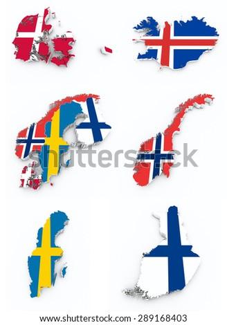scandinavian flags on 3d map - stock photo