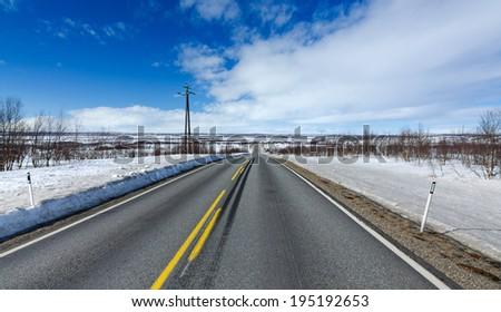 Scandinavian highway - stock photo