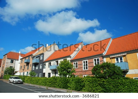 scandinavian houses - stock photo