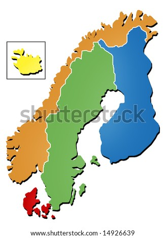 Scandinavian map - stock photo