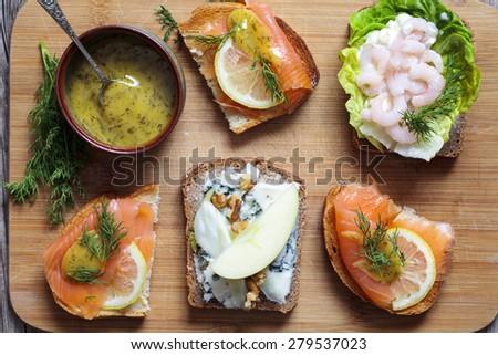 Scandinavian open sandwiches - stock photo