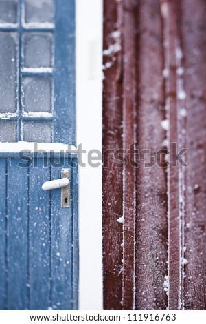 Scandinavian Peninsula, Sweden, Skane, View of door covered with snow - stock photo