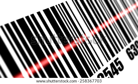 Scanner scanning barcode on with white background. Depth of fields. - stock photo