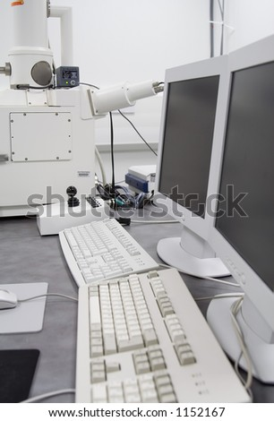 Scanning Electron Microscope (SEM) machine in cleanroom - stock photo