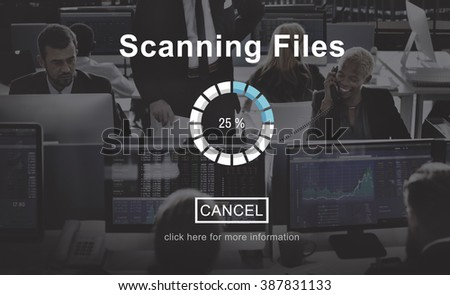 Scanning Files Security System Data Protection Technology Concept - stock photo