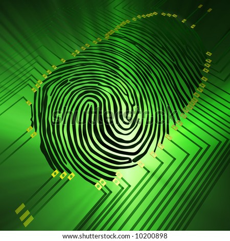 Scanning of a fingerprint with  new technologies - stock photo
