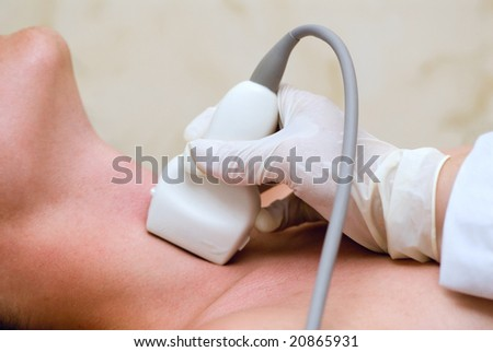scanning of a thyroid of man - stock photo