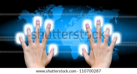 scanning of finger on a touch screen interface - stock photo