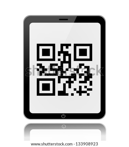 Scanning qr code on a tablet illustration - stock photo