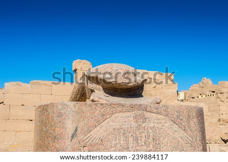 Scarab at the Karnak temple, Luxor, Egypt (Ancient Thebes with its Necropolis). UNESCO World Heritage site - stock photo