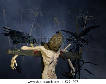 Scarecrow?: A hooded scarecrow in a cornfield at night mounted on a wooden pole with a couple of crows tormenting him.  Happy Halloween - stock photo