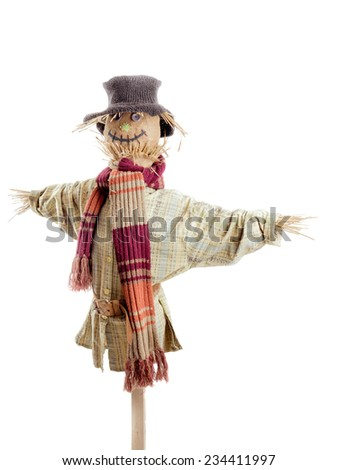 Scarecrow against the white background - stock photo