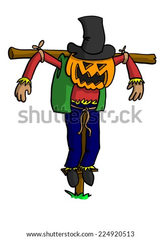 Scarecrow with Pumpkin Head - stock photo