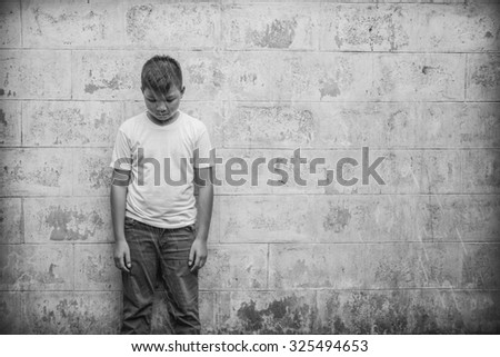 Scared and alone, unfocused - stock photo
