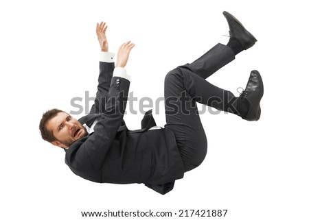 scared businessman falling down and screaming. isolated on white background - stock photo
