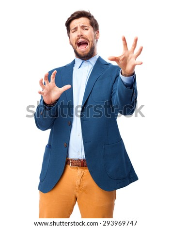 scared businessman frightened pose - stock photo