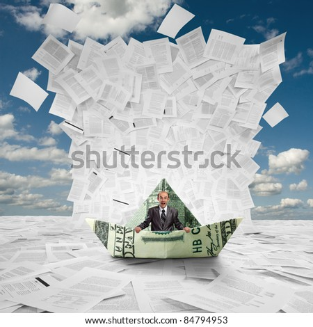 Scared businessman in money boat under huge wave of documents - stock photo