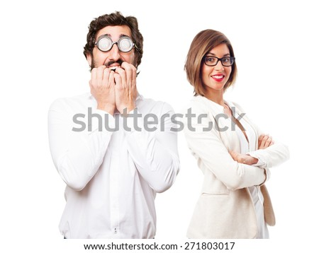 scared fool man - stock photo