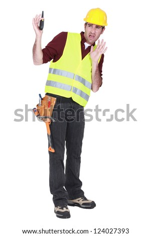 Scared foreman - stock photo
