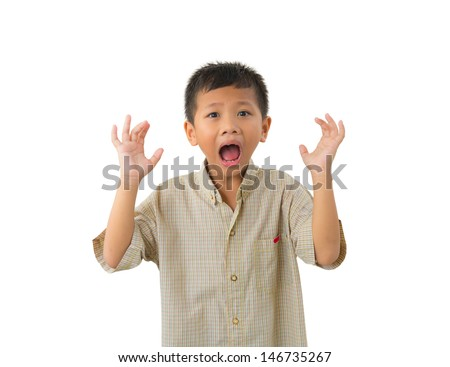 Scared litle kid holding hands and screaming isolated on white background - stock photo