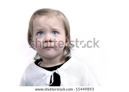 Scared little baby girl, isolated - stock photo