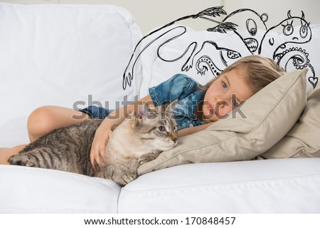 Scared little girl hugging her cat. Sketches of his fictional fears around her - stock photo