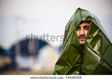 Scared man - stock photo