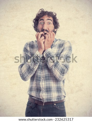 scared man gesture - stock photo