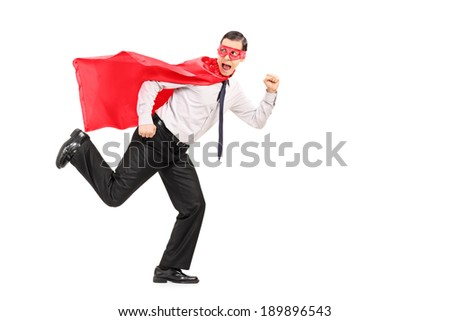Scared man in superhero costume running away from something isolated on white background - stock photo