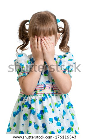 scared or crying or playing bo-peep kid hiding face - stock photo