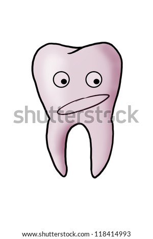 scared sick tooth. hand-drawn characters. isolated on white - stock photo