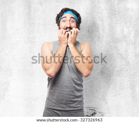 scared sport man worried - stock photo