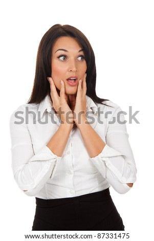 scared, terrified businesswoman , isolated over white background - stock photo