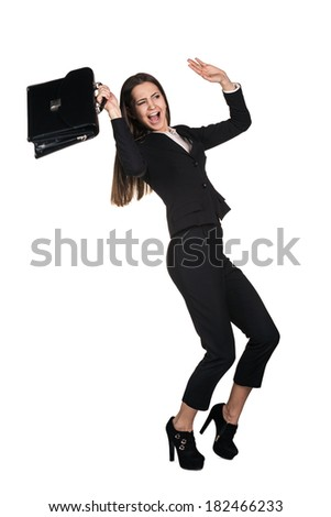 Scared young businesswoman protecting with briefcase and gesturing fear isolated on white background - stock photo