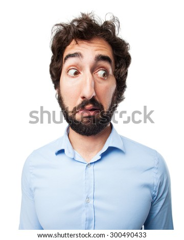 scared young man surprised concept - stock photo