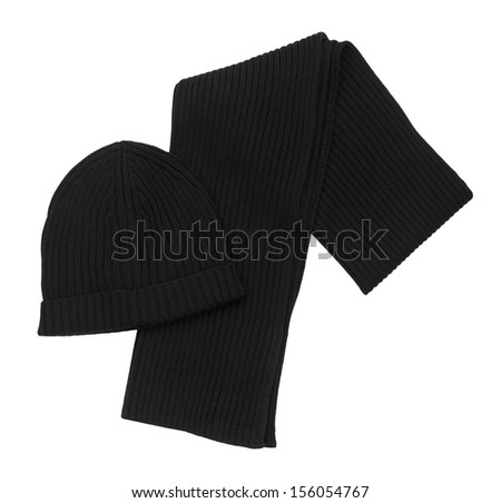 Scarf and Hat  isolated on white background - stock photo