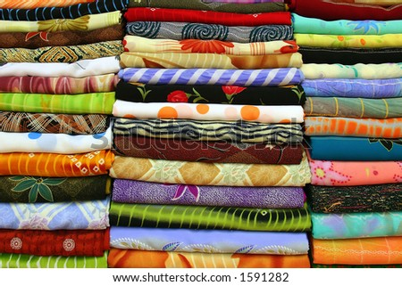 scarfs in the market - stock photo