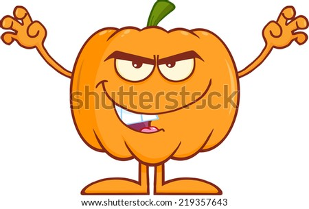 Scaring Halloween Pumpkin Cartoon Mascot Character. Raster Illustration  - stock photo