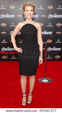 Scarlett Johansson at the Los Angeles premiere of 'Marvel's The Avengers' held at the El Capitan Theatre in Los Angeles on April 11, 2012.   - stock photo