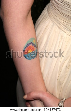 Scarlett Johansson's Tattoo   at the Los Angeles Premiere of 'The Spirit'. Grauman's Chinese Theatre, Hollywood, CA. 12-17-08 - stock photo
