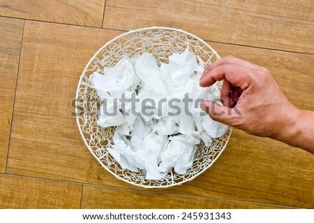 scarp of paper in basket - stock photo
