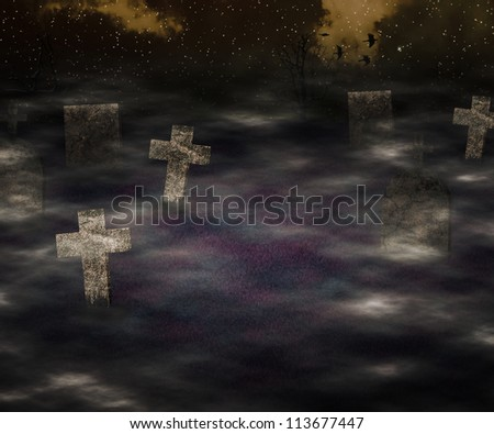 Scary Graveyard Dark Background - stock photo