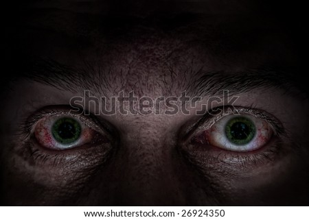 Scary green eyes - stock photo