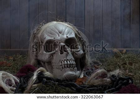 Scary grim reaper skull on a smoky wood background - stock photo