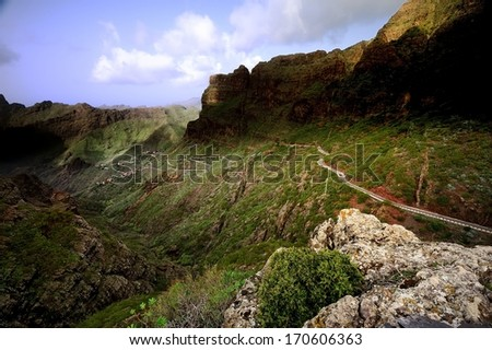 Scary Hairpin Bends in the Valley - stock photo