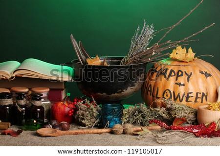 Scary halloween laboratory in green light - stock photo